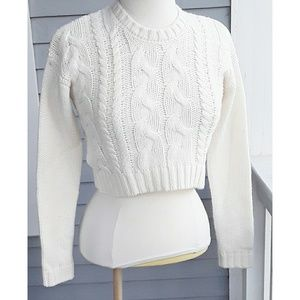 Lucca Couture Chunky Cable Knit Cropped Sweater